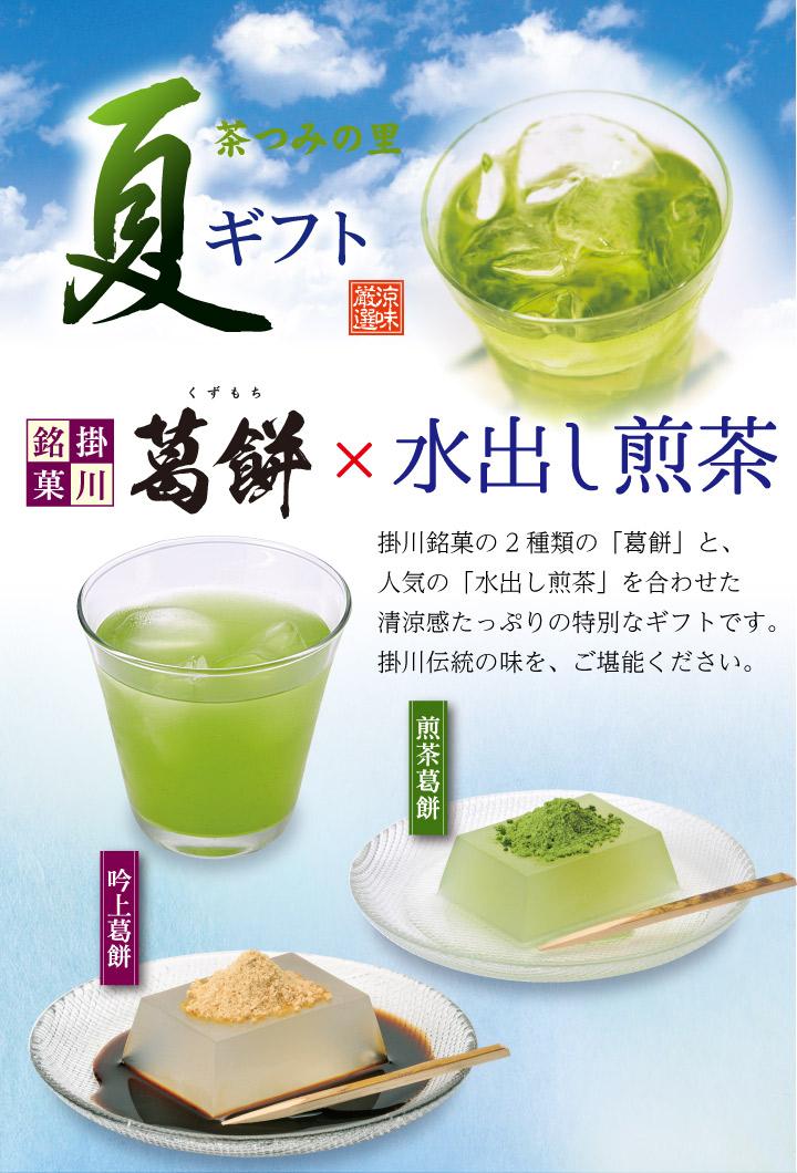 掛川銘菓の2種類の「葛餅」と、人気の「水出し煎茶」を合わせた清涼感たっぷりの特別なギフトです。掛川伝統の味を、ご堪能ください。