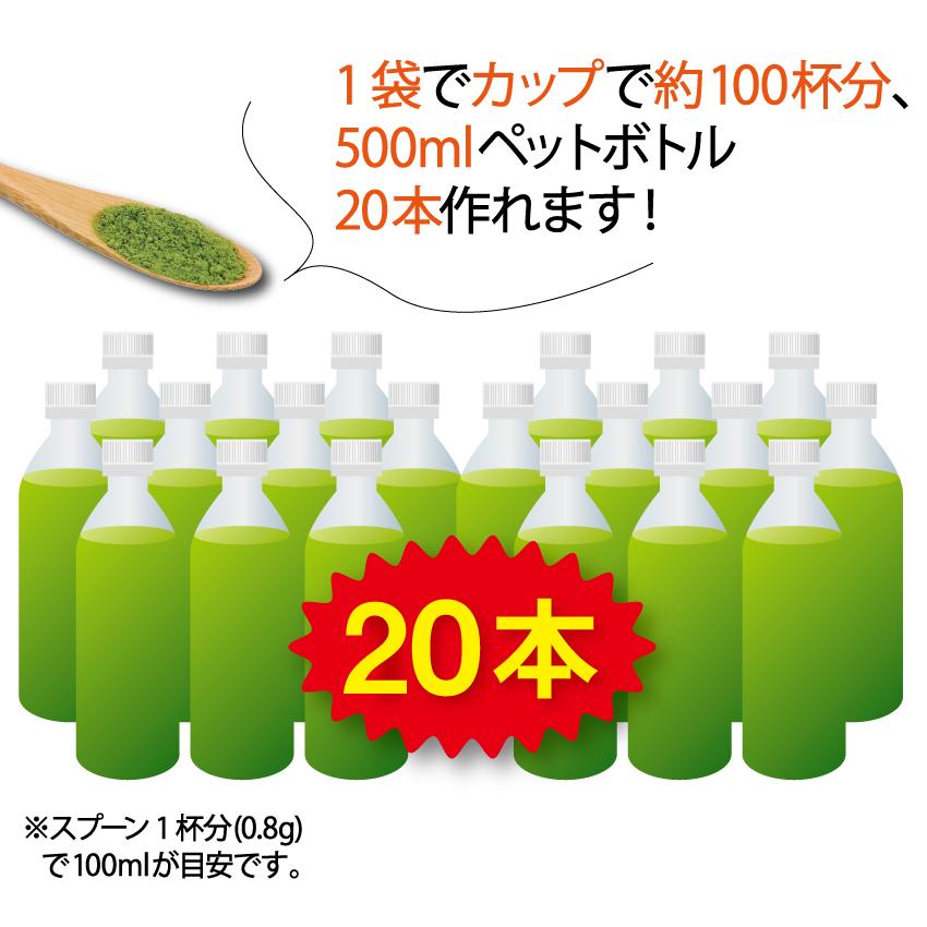 1袋でカップで約100杯分、500mlペットボトル20本作れます!